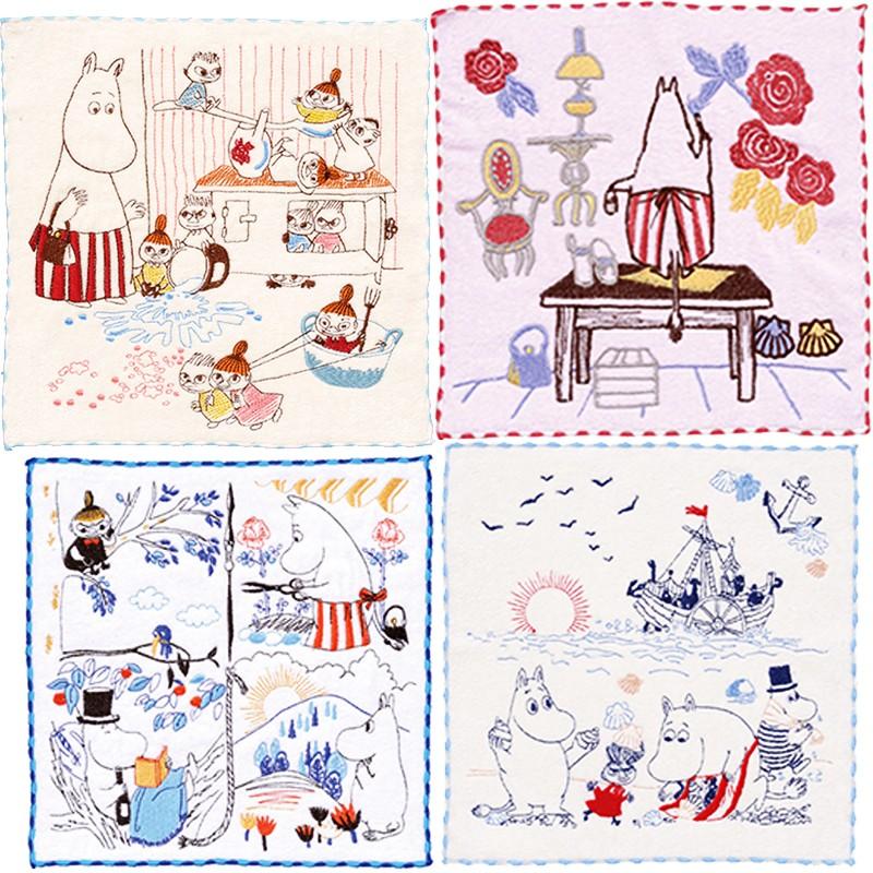 【北欧雑貨ムーミン】全面刺繍ミニタオル 好きな場所・ミイいたずら大好き
