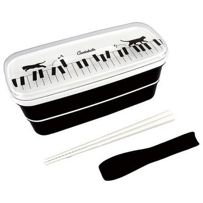 日本製【オトナ可愛いランチタイム】ランチボックス2段(箸付き)ネコ&ピアノ