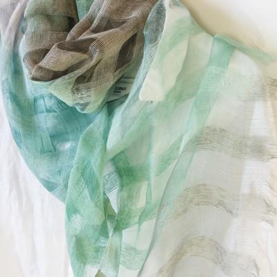 【シルク100%】1400円卸価格 シルクスカーフグリーン&グレイ