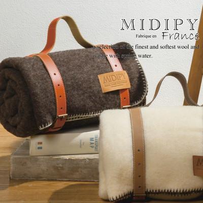 【MIDIPY】染色なしウール100% リッチなフランス製ブランケット