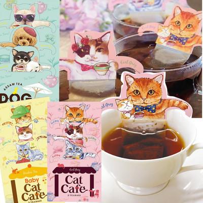 【カップの縁にひっかけるティーバッグ】猫&犬CatCafe&babyCatCafe&DogTerrace紅茶ティーバッグ