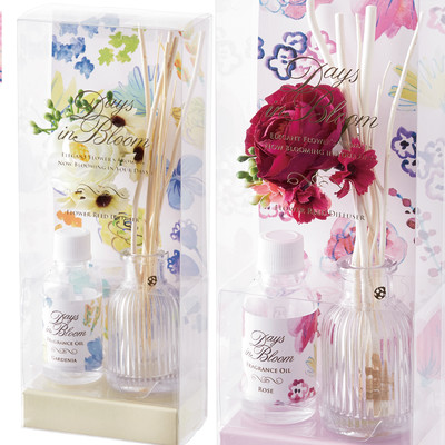 【Days in Bloom】ローズ・ガーデニアの花モチーフ フラワーリードディフューザー