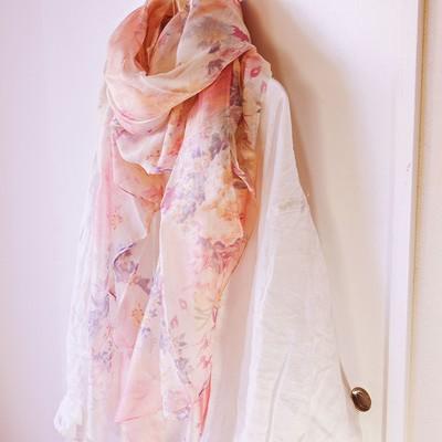 【シルク混】1500円卸価格 フラワーピンクスカーフ
