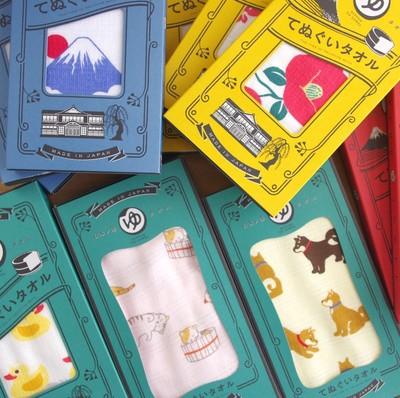 【日本製】にほんのゆ 富士山&ネコ&柴犬 てぬぐい&バスタオル