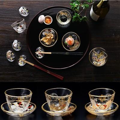 日本製【江戸猫ぐらす】歌川国芳 盃&豆皿セット 木箱入り