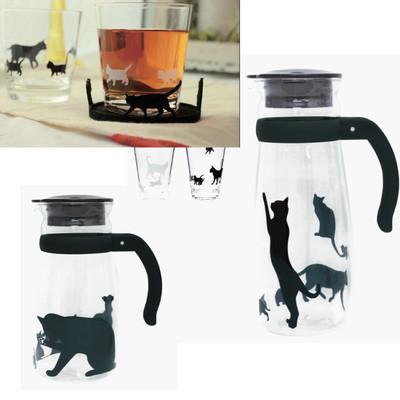 【人気のネコ♪】耐熱で大きな氷もごろんと入る♪ガラスピッチャー&アクリルグラス