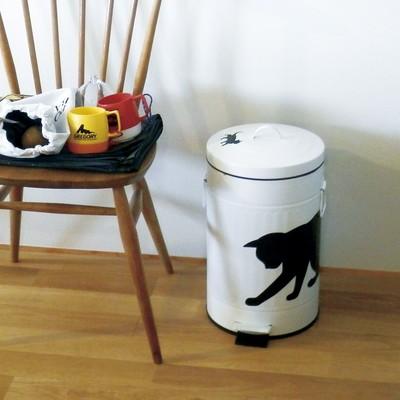 【人気のネコちゃん♪】ダストビン(ごみ箱) ホワイト