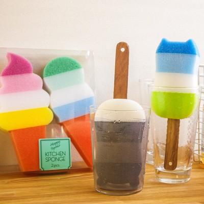 【上代400円~】ハンドル付きでかわいい!キッチンスポンジ ネコパンダ&アイスクリーム
