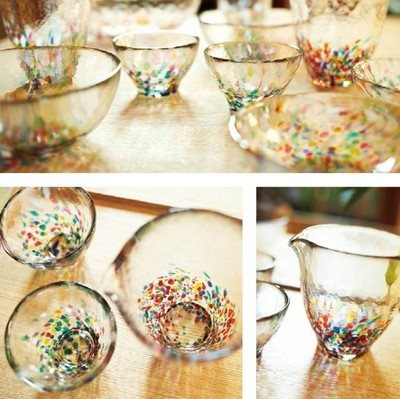 【津軽びいどろ・・日本の美しいガラス器】ねぶたタンブラー&盃&片口&多様鉢&小鉢