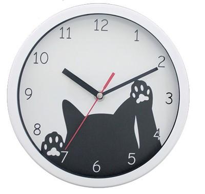 【人気のネコちゃん♪】カチカチしない 掛時計サークル ネコ