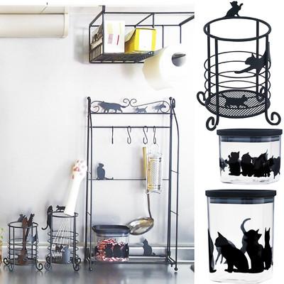 【人気のネコちゃんシリーズ】キッチンにも雑貨収納にも♪キャニスター&マルチスタンドネコ