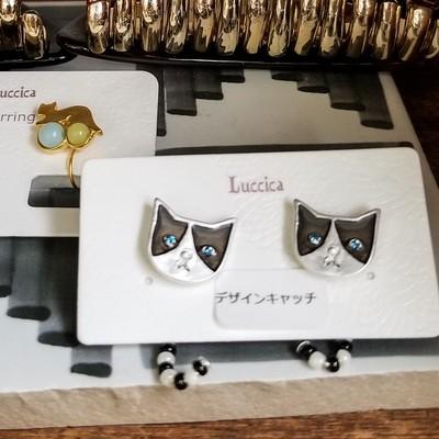 【Luccica】かわいいネコピアス ミミとメル