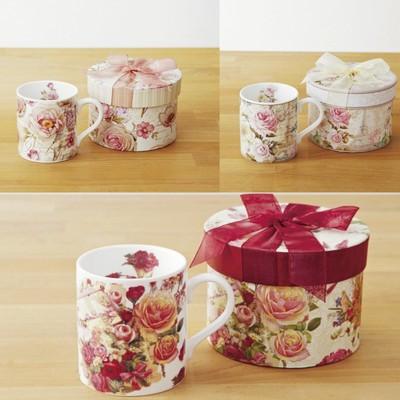 【ギフトコーヒーマグカップ】上代780円でリボンボックス付き ローズボックスマグカップ