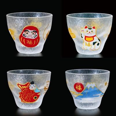 日本製【めでたmono】招き猫&富士山 盃