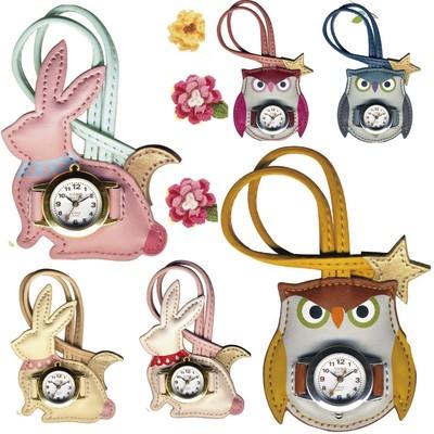 【人気のハングウオッチ】ウサギ&フクロウ バッグにぶら下げるかわいい時計