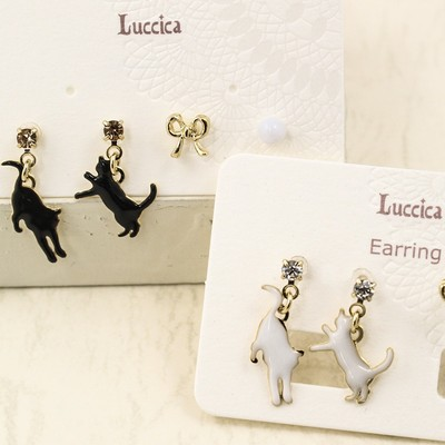 【Luccica】かわいいネコピアス&イヤリング gatto
