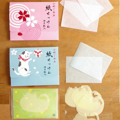 日本製【かはゆし 小町ごのみ】猫や和風のかわいい紙せっけん