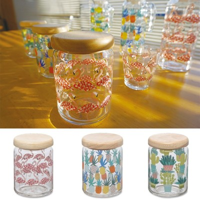 日本製【木製ふた付き かわいいガラスキャニスター】フラミンゴ&パイナップル&カクタス