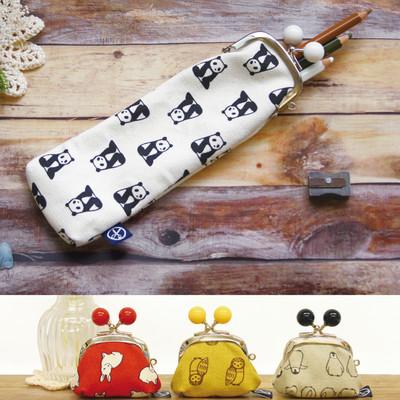 日本製【京都の染物屋さん帆布】動物がま口ペンケース&7寸がま口