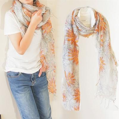 【シルク混】1300円卸価格 オレンジフラワースカーフ