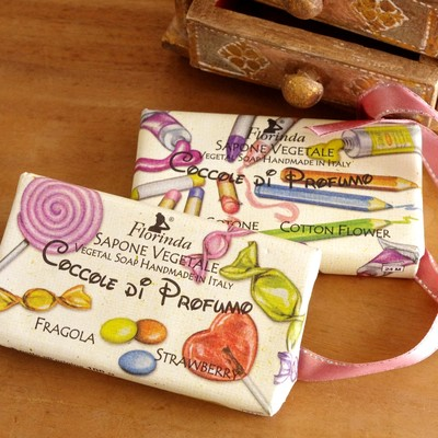 【ミラノの植物性パラベンフリーソープ】長く続く甘い香りでキュートなパッケージ Florindaおもちゃソープ