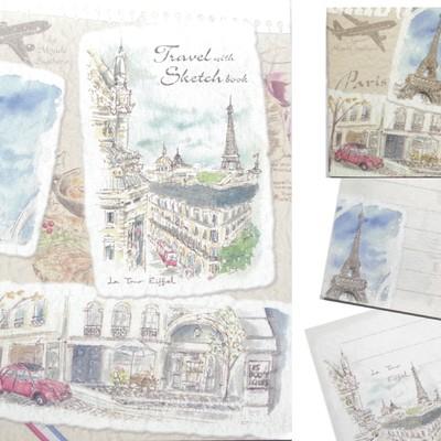 【心づくしのお便りに・・】パリ風景便箋&一筆箋&封筒