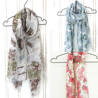 【花柄やおしゃれな柄がいっぱい】低価格人気スカーフ Paris&マリエットフラワー&ローズスカーフ